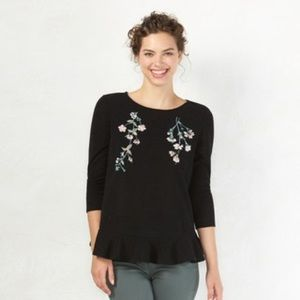 LC Lauren Conrad Embroidered Peplum Sweater XL